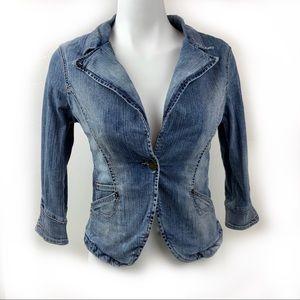 FREE SOUL Denim Faded Distressed Jacket Sz Small